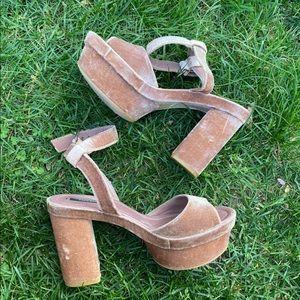 Zara pink velvet chunky heels